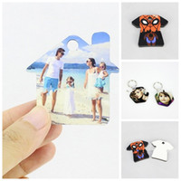 Wholesale wedding ring blanks resale online - MDF Sublimation Blanks key Ring Ellipse And Hexagon T Shirt Shape Blank Pendants Customized Keychains Toys Different Design bdaH1