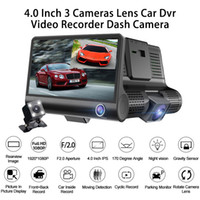 frente traseira carro câmeras venda por atacado-3Ch carro DVR condução gravador de vídeo câmera auto traço 4