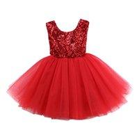 neujahrsblume großhandel-Frohes Neues Jahr Kleidung Kinder Baby Mädchen Blume Spitze Pailletten Formale Hochzeitskleid Party Brautjungfer Prom