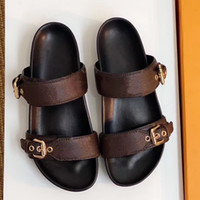 BOM DIA FLAT MULE 1A3R5M Cool Effortlessly Stylish Slides 2 Straps with Adjusted Gold Buckles Women Summer Slippers