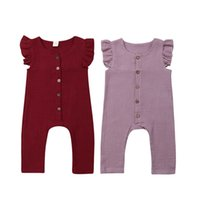 Wholesale solid red baby romper for sale - Group buy Newborn Kid Girl Infant Summer Outfit Solid Sleeveless Romper Jumpsuit Cotton Linen Ruffles Sleeveless Baby Girl
