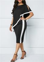 plus größenlänge hülsensommerkleider großhandel-5XL Womens Summer Paneled Kleider Plus Size Fashion Mike Silk Kleidung Asymmertrical Knielangen Freizeitbekleidung