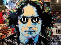 johns arte venda por atacado-Alec Monopoly Bansky arte do grafite John Lennon Home Decor pintado à mão HD impressão pintura a óleo sobre tela Wall Art Canvas Pictures 200203
