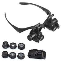 ferramentas de joalharia venda por atacado-Multi 10X 15X 20X 25X de Alta Qualidade LEVOU Lupa Lente Dupla Óculos Lupa Lustre de Relógio Reparação Lupa Ferramentas de Medição 467