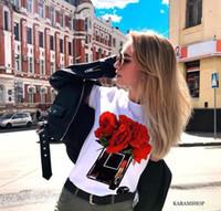 blusa branca flounces venda por atacado-Verão roupas mulheres esporte encabeça salto alto alto de manga curta T-shirt impressão ocasional tamanho shirts t-shirt S-3XL