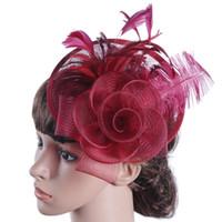 sombreros de iglesia naranja al por mayor-Royal blue Sombreros de Novia 2019 Pluma Tocado Flor Fascinator Gran Gatsby Nupcial Headwear Para Fiesta de Boda vestido