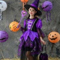 ingrosso costumi americani della ragazza-Nuovi costumi di Halloween per i bambini europei e americani ragazze pipistrello viola Cosplay streghe costumi SpiderMan