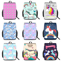 Wholesale nylon drawstring backpacks kids for sale - Group buy Kids Striped Unicorn Backpacks Custom D Student Schoolbag Girls Inch Big Backpack Lady Rainbow Unicorn Patch Drawstring Knapsack