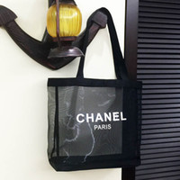 Wholesale mesh cosmetics bags resale online - Classic white logo shopping mesh Bag luxury pattern Travel Bag Women Wash Bag Cosmetic Makeup Storage mesh Case MMA1810