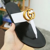 Wholesale fashion hardware for sale - Group buy Branded Women Leather Colorful Thong Sandal Fashion Lady Metallic gold leather Double Hardware Leather Sole Slipper