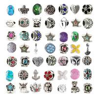 karışık cam boncuklar toptan satış-Mix Alaşım Kristal Charm Boncuk Cam Boncuk En Az 100 Farklı Stil Pandora Bilezik Kolye Için