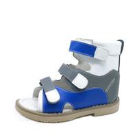 ingrosso sandali in pelle bianca per bambini-Pattini ortopedici per bambini correttivi in vera pelle ortopedica blu e bianchi Scarpe estive per i ragazzi