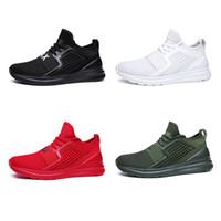 tela de encaje rojo para la venta al por mayor-Hot Sale-MAX Sneakers Sport Shoes tejido de malla transpirable de gran tamaño con cordones zapatos casuales negro blanco rojo verde # 7058