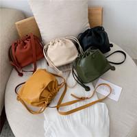 bolsa de couro drawstring venda por atacado-Luxo Bolsas mulheres sacos Designer PU Marca cordão Bucket Bolsas Simples pequeno Crossbody ombro para as Mulheres 2019