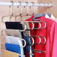 Wholesale anti slip clothes hangers for sale - Group buy 5 Storey Multifunctional Hanger in one Anti Slip Magic Cabinet Rack Stainless Steel S Shaped Trousers Hanger Convenient Clothes Hang