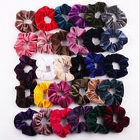saç lastiği bantları bebek elastik toptan satış-Bebek Bantlar Kızlar Katı Renk Kadife Elastik Halka Saç Kravatlar Aksesuarları Moda At Kuyruğu Tutucu Hairband Lastik Bant Scrunchies LT1300