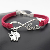 Wholesale vintage brass lobster resale online - 2019 NEW Silver Vintage Infinity Love Mom and Child Elephant Pendant Charm Fit Bracelets Rose Red Leather Suede Rope DIY Womens Mens Jewelry