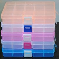 contenedores de almacenamiento ajustables al por mayor-Práctico Ajustable 10 Compartimento Caja De Almacenamiento De Plástico Pendiente De La Joyería Perla Tornillo Titular Caso Exhibidor Organizador Contenedor