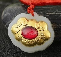 ingrosso pendenti in oro bianco-Natural White Heian Jade + 18K Solid Gold Red Gemma cinese Lucky Lock Amulet Pendant + Free Collana Fine Jewelry Certificate