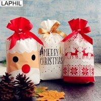 12 paket toptan satış-LAPHIL 12pcs Merry Christmas Hediyelik Çanta Noel Baba Noel ağacı Ambalaj Çanta Yeni Yılınız Kutlu Olsun 2019 Noel Şeker Çanta Navidad