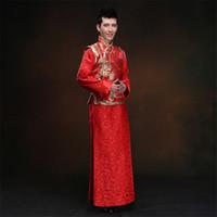 roupas de vermelho chinês venda por atacado-Chinês Tradicional Noivo Vestido de Casamento Do Vintage Dos Homens Vermelho Handmade Botão Qipao Casamento Masculino Terno Tang Terno Roupas XS-XL