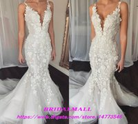 noivas vestidos de noiva fishtail venda por atacado-3D-Floral Appliqued Tulle sereia vestidos de casamento 2019 elegante cintas de espaguete vestidos de noiva Custom Fishtail vestidos de noiva Vestidos De Novia