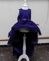blumenmädchen kleidet blauen schein großhandel-Königsblau Blume Mädchen Kleider elegante Pailletten Spitze Bogen Ballkleid Hochzeit Geburtstag funkelnden Junior Brautjungfer Kleid