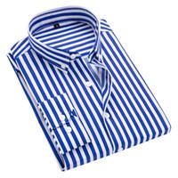 demir düğmeler toptan satış-Düğme aşağı Yaka Olmayan Demir Çizgili Gömlek Erkek Giysileri 2018 Uzun Kollu Erkek Gömlekler Casual Slim fit Erkekler Sosyal Gömlek # 388852