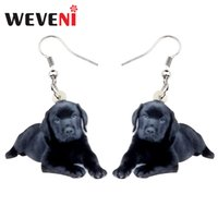 Wholesale jewelry for dog lovers resale online - Dangle Earrings WEVENI Acrylic Sweet Labrador Dog Earrings Big Dangle Drop Cute Animal Jewelry For Women Girls Pet Lovers Gift Charms Who