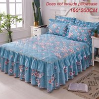cama caliente reina al por mayor-Cubierta de cama de 150x200 cm Engrosamiento cálido Lijado acolchado Cama individual y doble Falda Envolvente de reina Funda de cama azul antideslizante