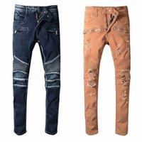 брюки сплошного цвета для мужчин оптовых-Balmain Мода Новый мужской дизайнер байкерские джинсы твердые беговые брюки цвета моды тощий случайные брюки человек брюки бренда Hip Hop шаровары для мужчин