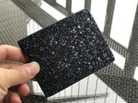 brieftaschen clips großhandel-Glitzer Kartenhalter Markendesigner kurze Mini Geldbörsen Geldscheinklammer Damen PU Leder 5 Farbe