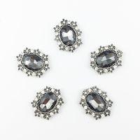ingrosso bottoni ovale del strass-CJSIR 50pcs OVAL strass di cristallo pulsanti Flatback accessori decorativi fai da te per la cerimonia nuziale da sposa copricapo artigianato forniture