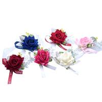 ingrosso corpetto fiore per damigella d'onore-Braccialetto di seta artificiale del fiore della sfera di cerimonia nuziale del fiore della mano della damigella d'onore del corsetto del fiore del polso della damigella d'onore della sposa Trasporto libero
