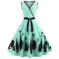 audrey hepburn baskı elbisesi toptan satış-Joineles Audrey Hepburn 60 s Parti Elbise Seksi V Boyun Kolsuz Kemerler Kadın Retro Elbise Kedi Baskı Rockabilly Salıncak Vestidos Robe Y19052703