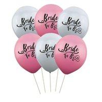 décorations de mariage gris achat en gros de-Flamingo Mariée À Être En Latex Balloon Bachelorette Party Partie De Fête Anniversaire De Mariage Décoration Gris Ballons Rose 0 4fn A1
