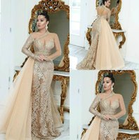 Wholesale zuhair murad black one shoulder for sale - Group buy Saudi Arabic Champagne Evening Dresses With Overskirts Long Sleeve Lace Prom Dress Sweep Train Zuhair Murad Formal Party Gowns