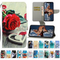 colorful rose painting 2021 - Newest Colorful Painting Leather Wallet Phone Case for iPhone 11 Pro X XR XS Max Samsung Galaxy S20 Flip Stand Ptotective Cover