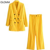 ingrosso giacca gialla delle signore-Vestito femminile 2019 nuove donne high street moda donna moda giacca lunga giacca a vita alta pantaloni due set di giallo