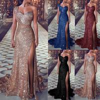 imagens de celebrity red carpet venda por atacado-Dividir elegante lantejoulas vestido de noite 2019 Plus Size de um ombro sem mangas tribunal trem comprimento Prom Vestidos Vestidos de noite LOL produtos