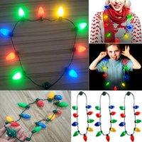 barco de cuello al por mayor-Collar llevado bombilla hasta Navidad para niños y adultos Cadena del partido de Navidad decoraciones de Navidad collar de luces Envío libre WX9-1597