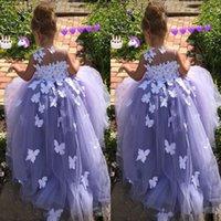 süslü önlük toptan satış-2019 Balo Çiçek Kız Elbise Tül 3D kelebek Çiçek Aplikler Yarışması Gowns Kelebek komünyon Fantezi Elbise Kostümler özel yapılmış