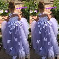vestidos de mariposas hechos al por mayor-2019 vestido de bola niña de las flores de mariposa aplicaciones florales del desfile de vestidos de trajes de comunión de la mariposa del vestido de lujo de los vestidos de tul 3D por encargo
