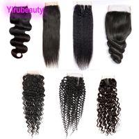 gevşek dalga kapakları toptan satış-Brezilyalı Virgin İnsan Saç düz saç kinky düz Yaki Derin Dalga Gevşek Dalga Vücut Dalga 4X4 Dantel Kapatma Orta Ücretsiz Üç bölüm