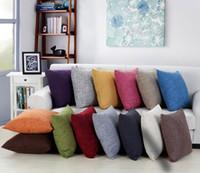 ingrosso copertine decorative del divano-40 cm * 40 cm Cotone-Lino Decorativo copridivano Cuscino di colore solido Tela cuscino federa classica lino cuscino quadrato per Divano Couch