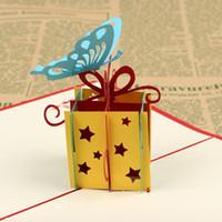 ingrosso biglietti augurali di anniversario fatti a mano-3D Blessing Handmade Paper Cartoline Greeting Card Forniture per feste regalo Happy Birthday Cake With Envelope Up Anniversary DIY