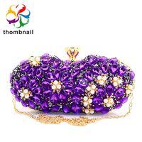 bolsos morados de boda al por mayor-Socialite Light Purple Women Crystal Evening Purse Handbag Formal Dinner Nupcial Wedding Party Diamond Clutch BagMX190820