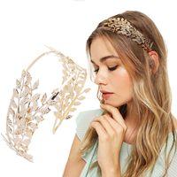 altın alin kafa bandı toptan satış-Haimekang Gelin Forehead Hairband Kafa Taçlar Altın Metal Hollow Yaprak Tasarım Saç Hoop Düğün Saç Aksesuarları Kadınlar