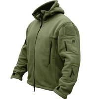 vellón uniforme al por mayor-Uniforme táctico militar al aire libre Softshell Fleece Jacket hombres US Army Clothes Cálido deporte con capucha chaqueta térmica