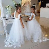 Wholesale wedding dress red pink flowers girl for sale - Group buy Princess Flowers Girls Dresses for Weddings Pearls Beadings Backless Birthday Party First Communion Dress Pageant Dresses